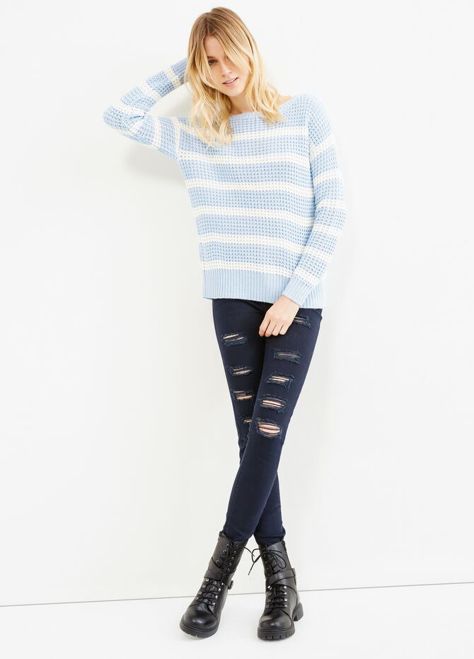 Striped pullover with boat-neck