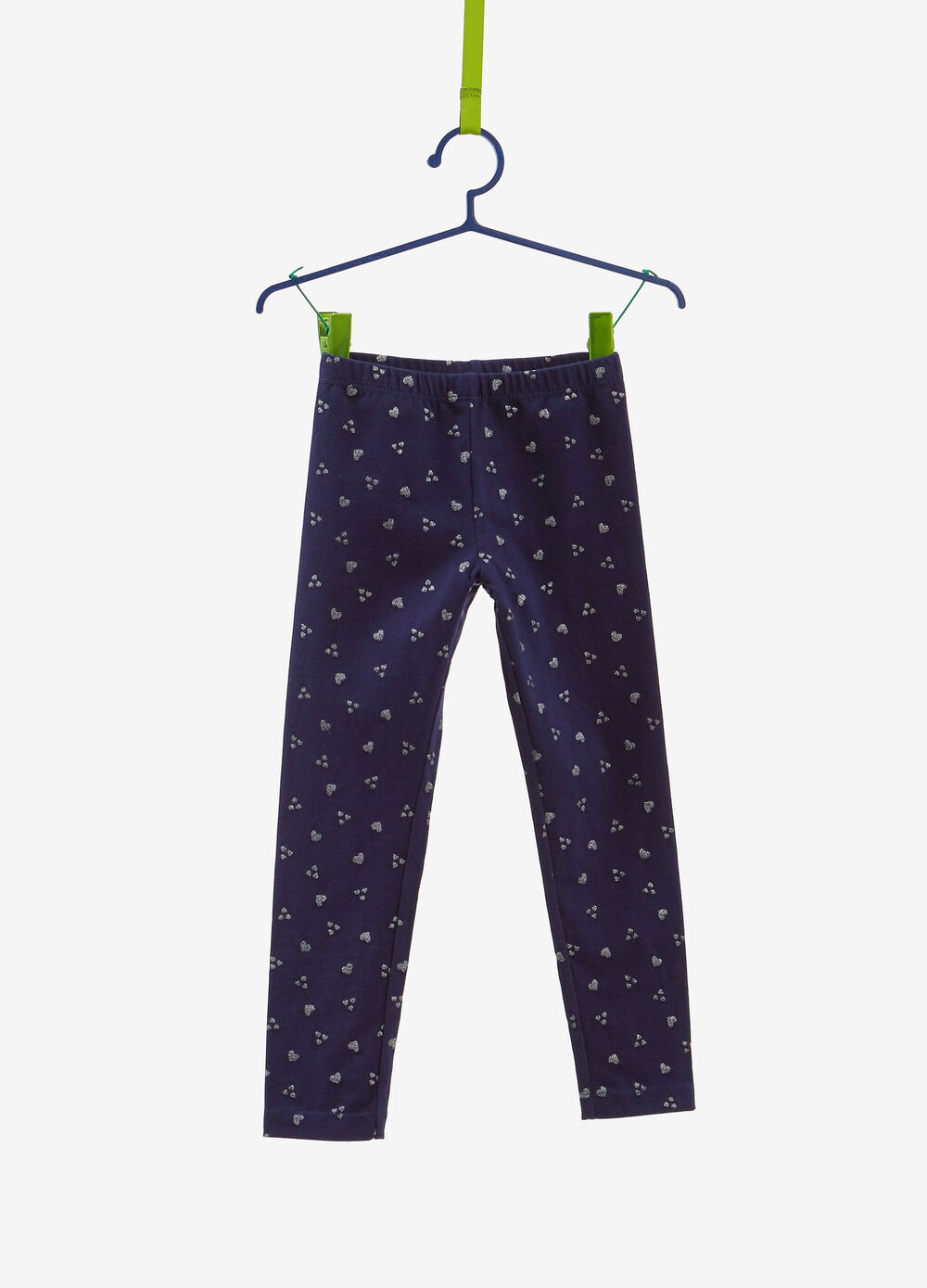 Stretch cotton leggings with glitter heart print