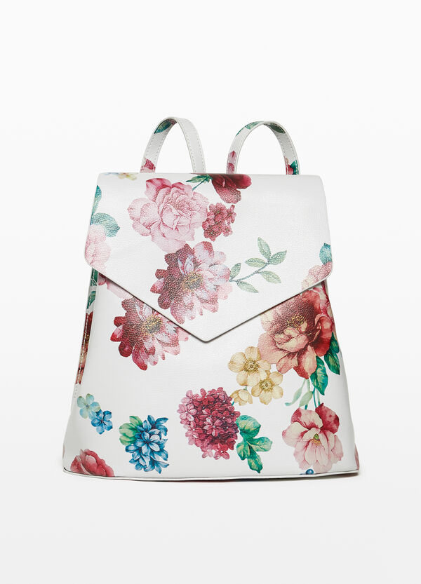 Floral patterned backpack with flap