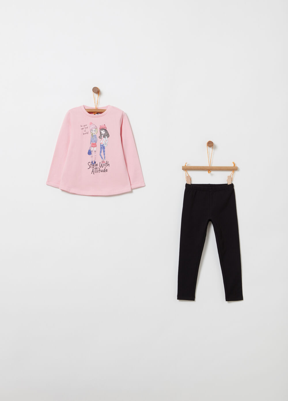 Fleece jogging set with print and glitter