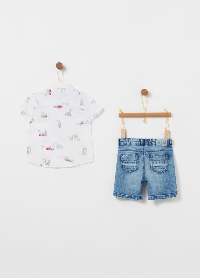 Cotton shirt and denim shorts set
