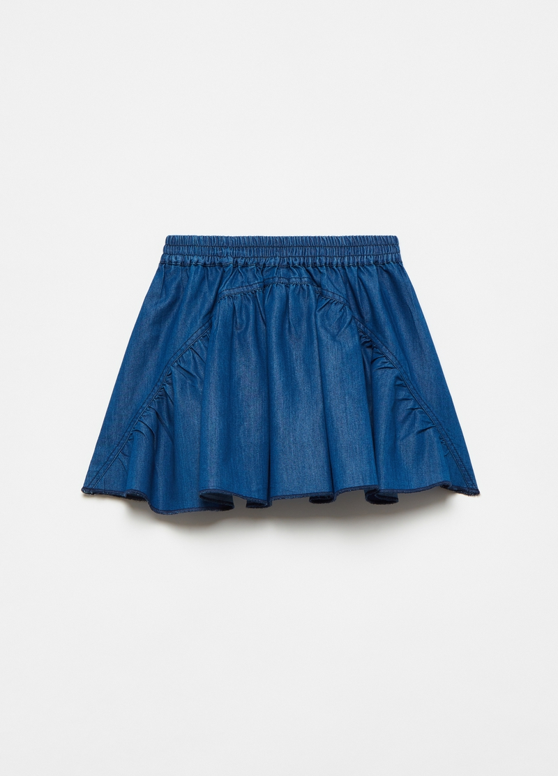 Pleated denim skirt image number null