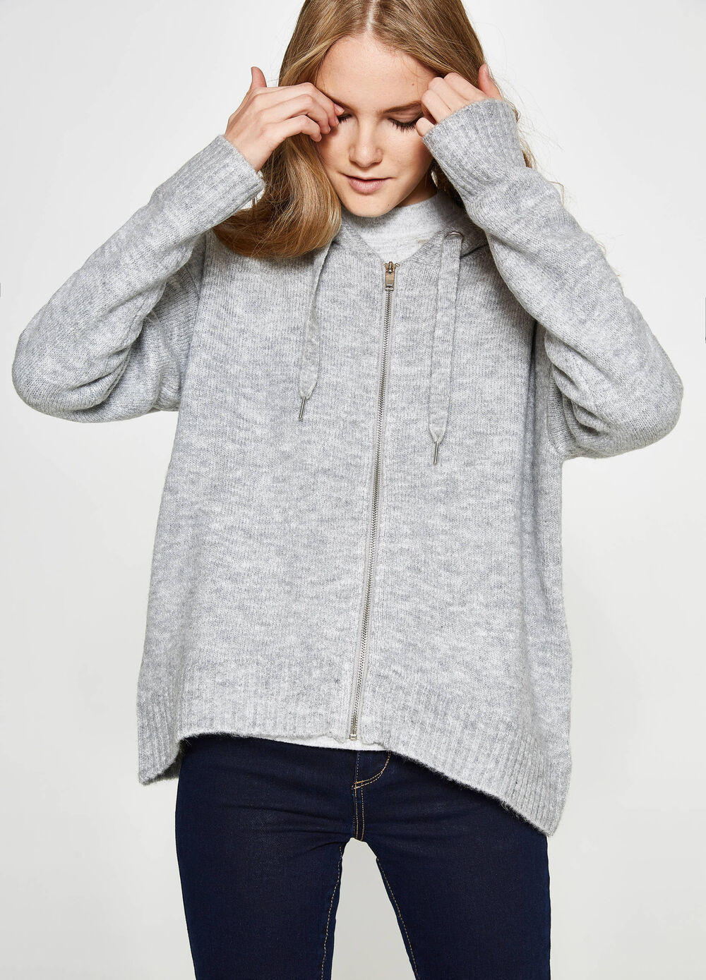 Solid colour cardigan with hood