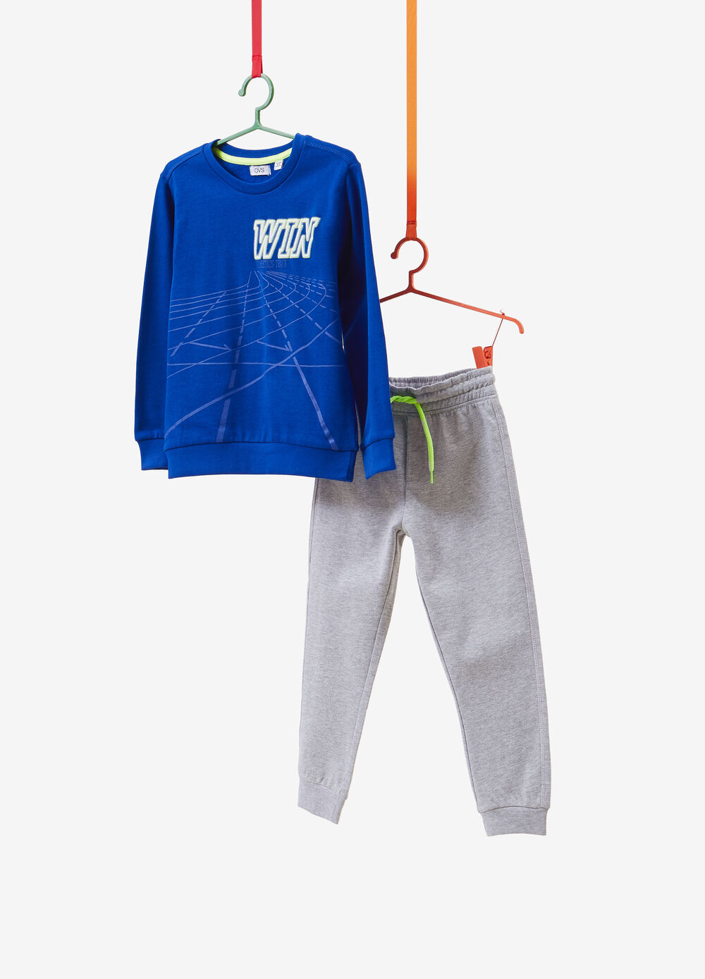 Tracksuit with sweatshirt and solid colour trousers