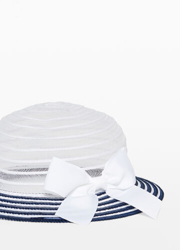 Striped hat with wide brim and mesh