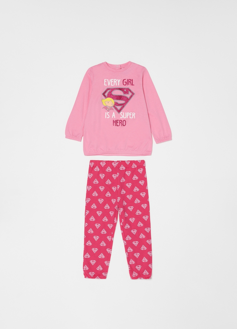 Pyjamas with glitter Supergirl print image number null