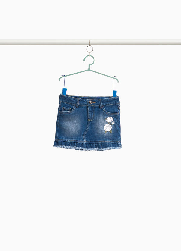 Denim skirt with floral embroidery
