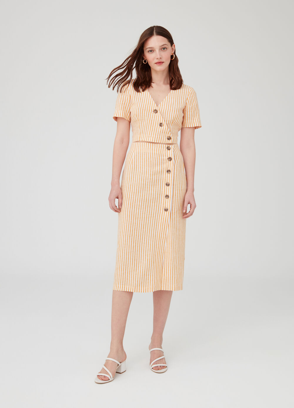High-waisted viscose and linen skirt with stripes