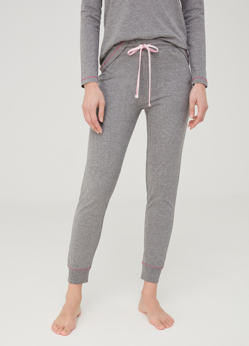 Viscose and organic cotton pyjama trousers image number null