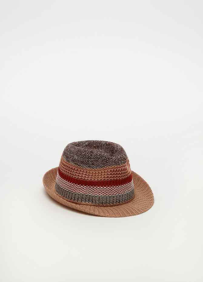 Straw-effect knitted hat