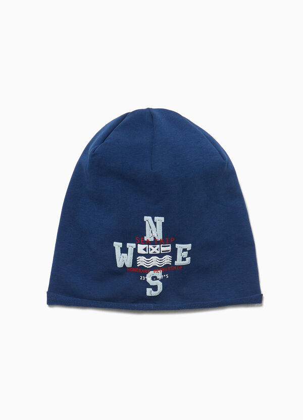 Printed beanie cap in cotton jersey