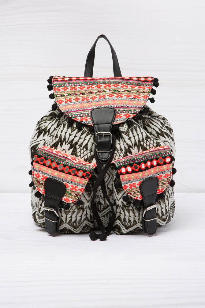 Patterned cotton backpack