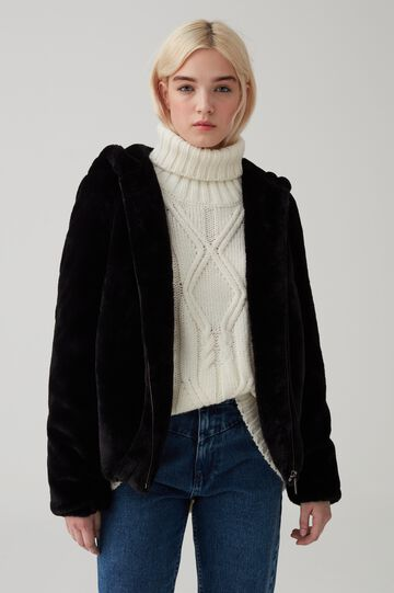 Faux-fur jacket with large hood and zip