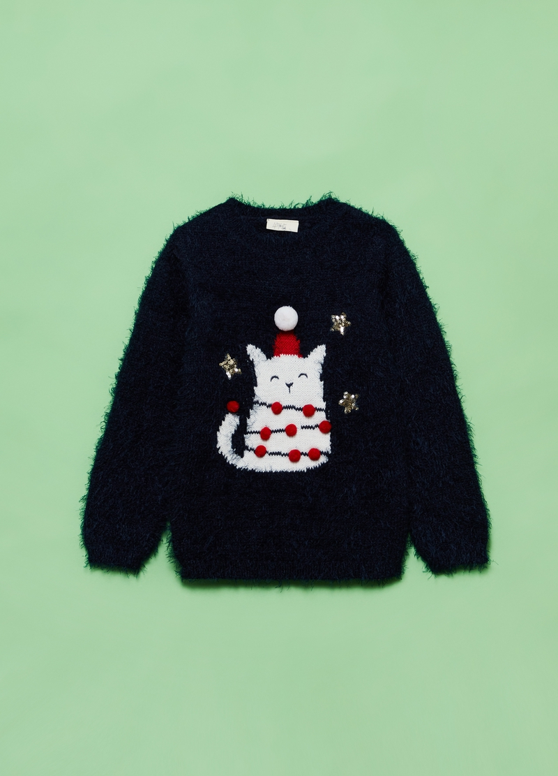 Christmas jumper with kitten and pompom image number null