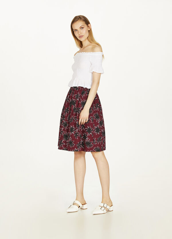 Pleated skirt in 100% cotton