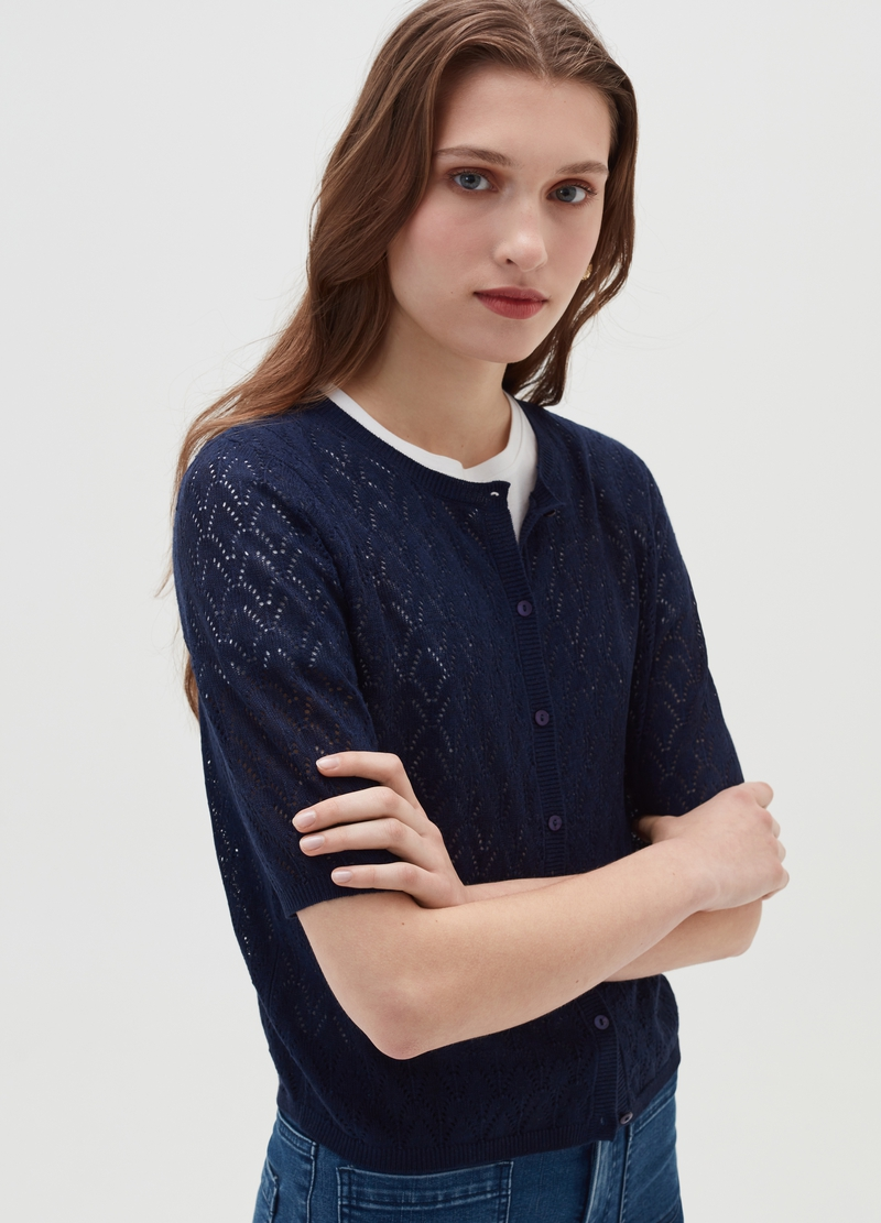 Cardigan in maglia pointelle image number null