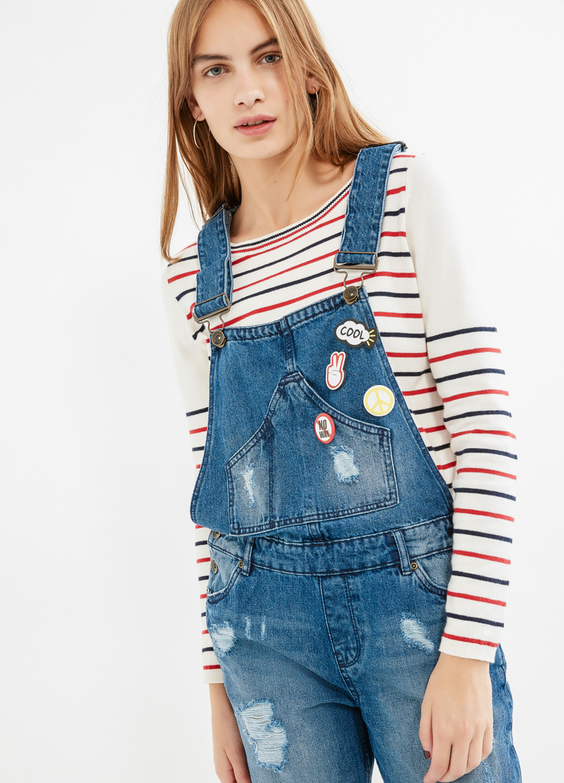 Worn-effect denim dungarees image number null