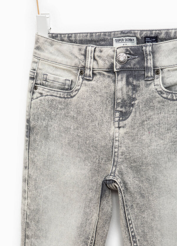 Mis-dyed-effect stretch jeans | OVS