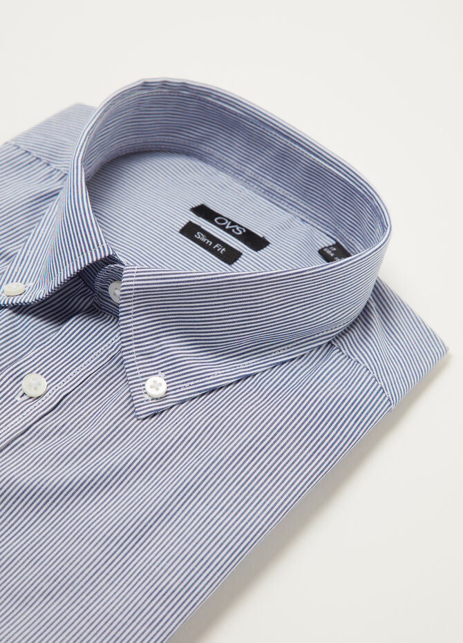 Slim-fit poplin shirt with micro stripes