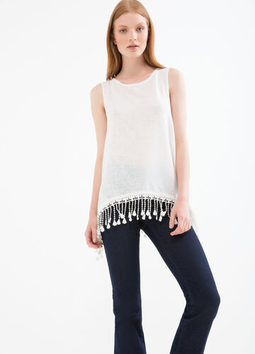 Viscose blend top with tassels