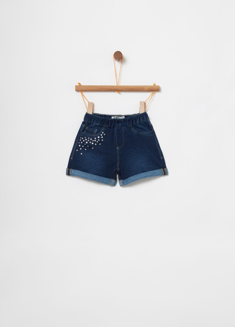 Shorts in denim felpato stretch borchiette