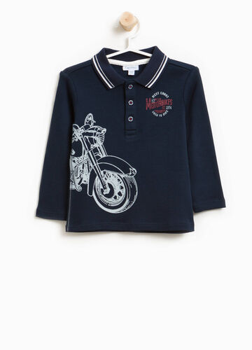 100% cotton polo shirt with striped collar and print