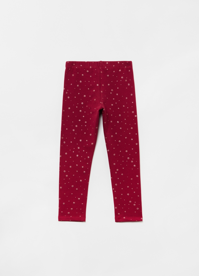 Leggings stretch stampa a pois all-over image number null