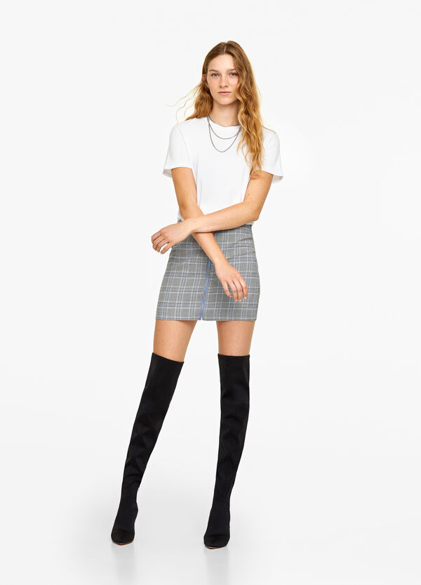 Stretch check mini skirt with zip
