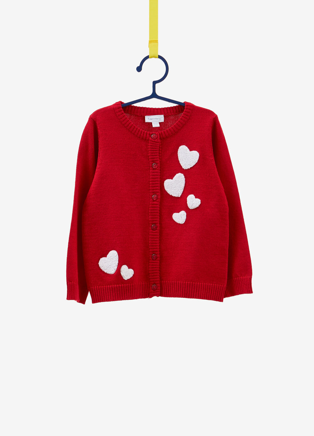 Cardigan tricot con patch cuore