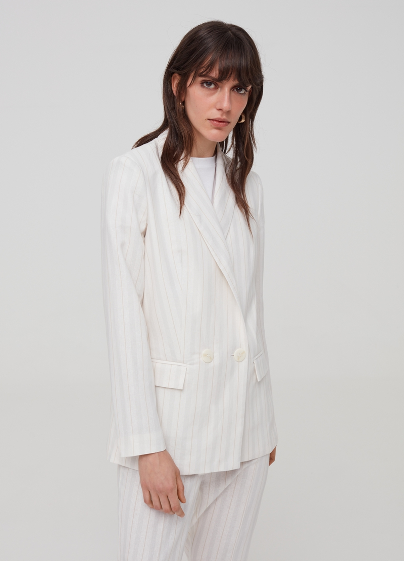 Double-breasted blazer in linen and viscose image number null