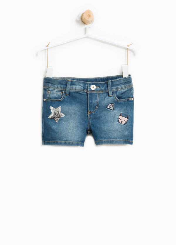 Denim shorts with patch and sequins | OVS