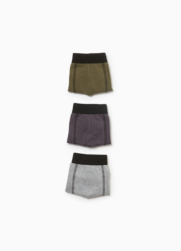 Three-pack solid colour and polka dot stretch boxer shorts