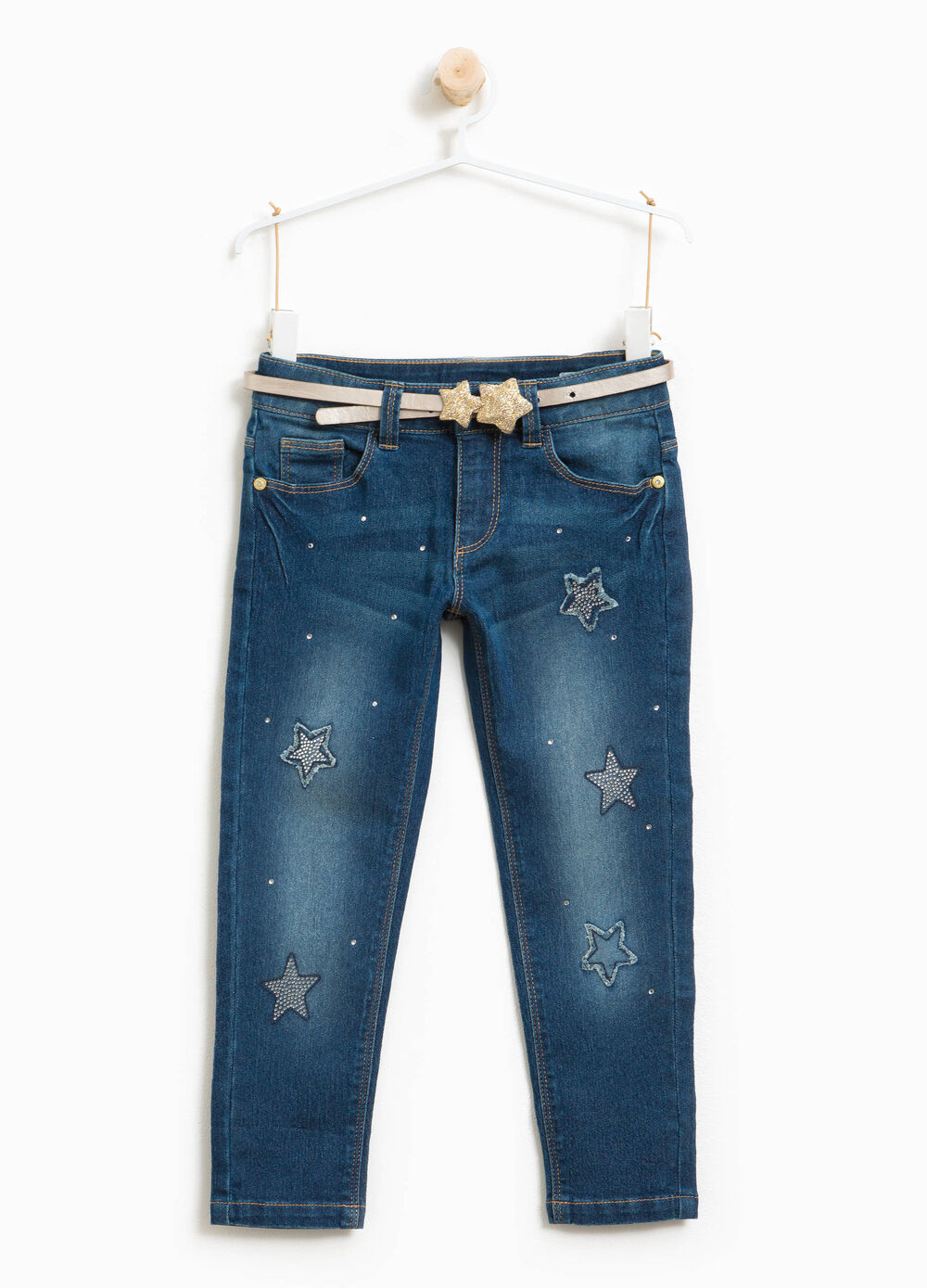 Stretch jeans with glitter belt