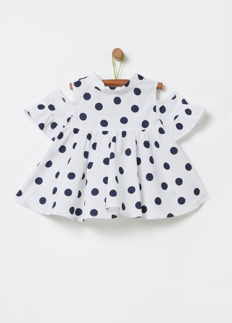 Blusa con spalle scoperte pois all-over image number null