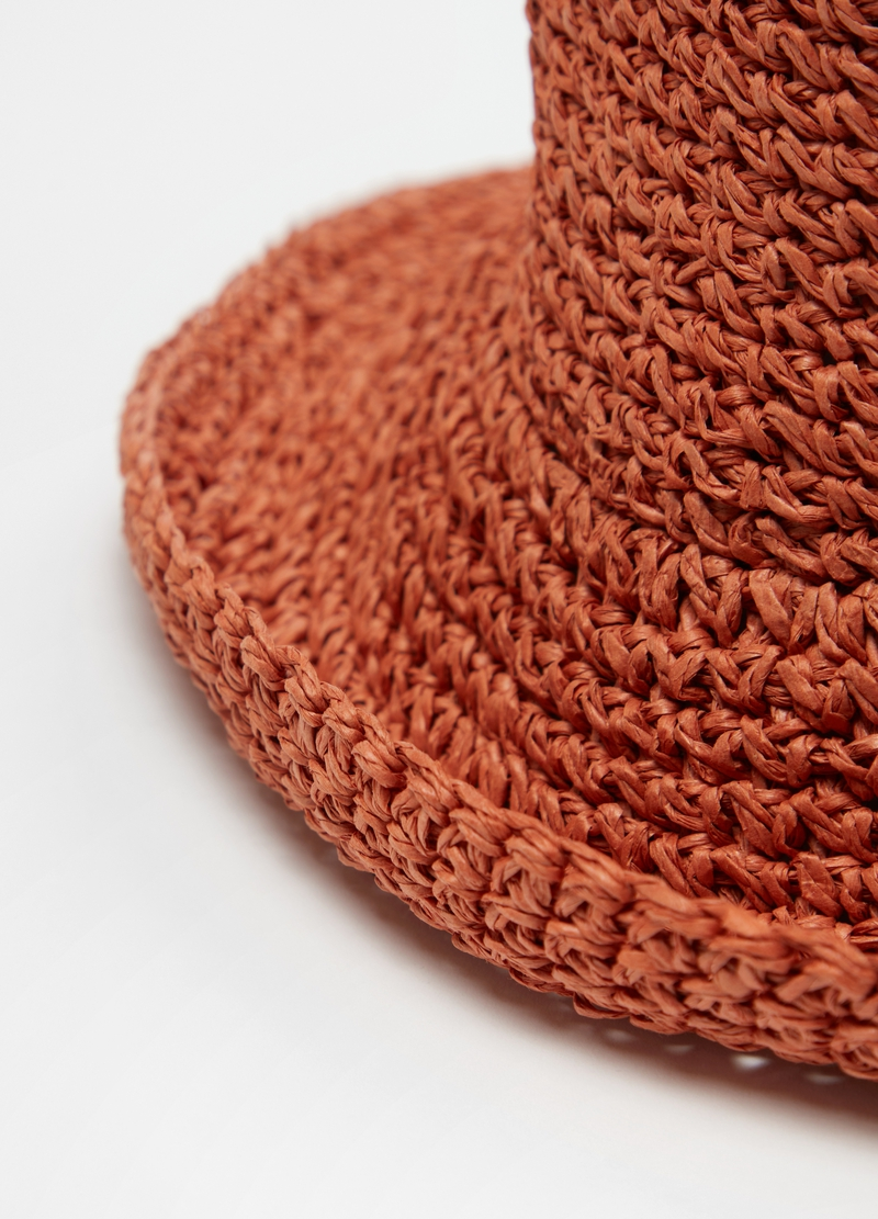 Solid colour straw cloche hat image number null