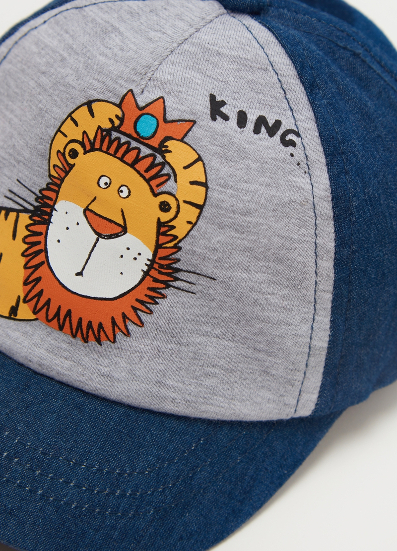 Cotton baseball cap with lion print image number null