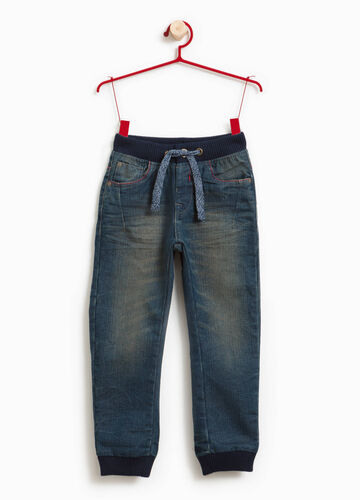 Used-effect stretch jeans with drawstring
