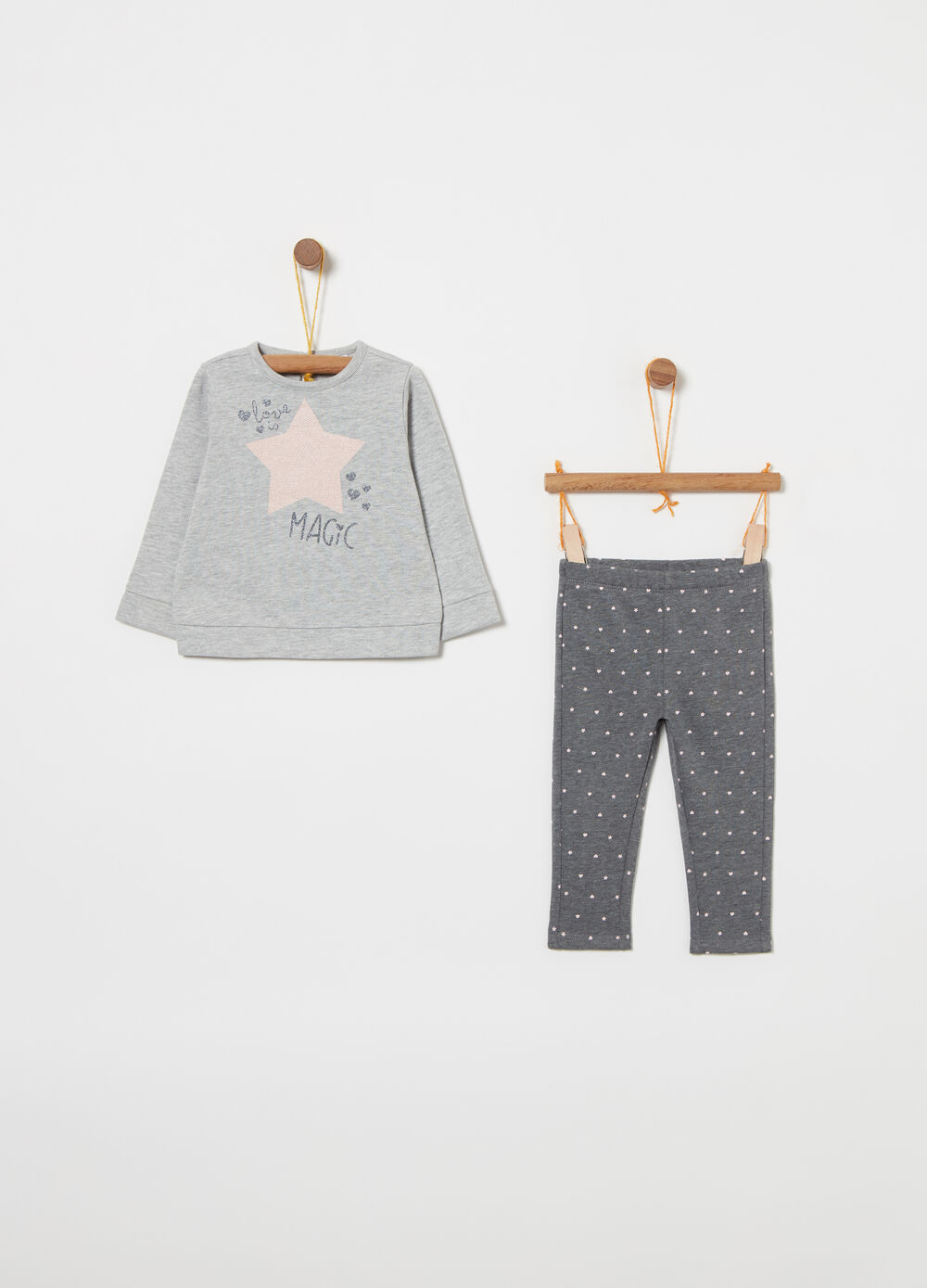 Warm cotton jogging set with print