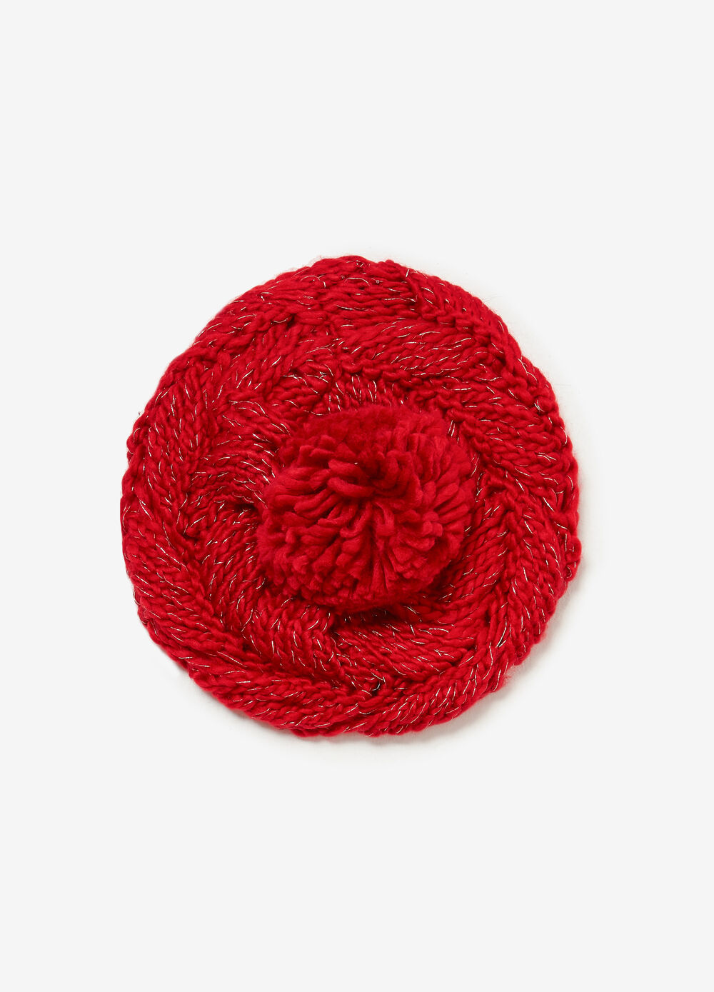 Solid colour beret with pompom