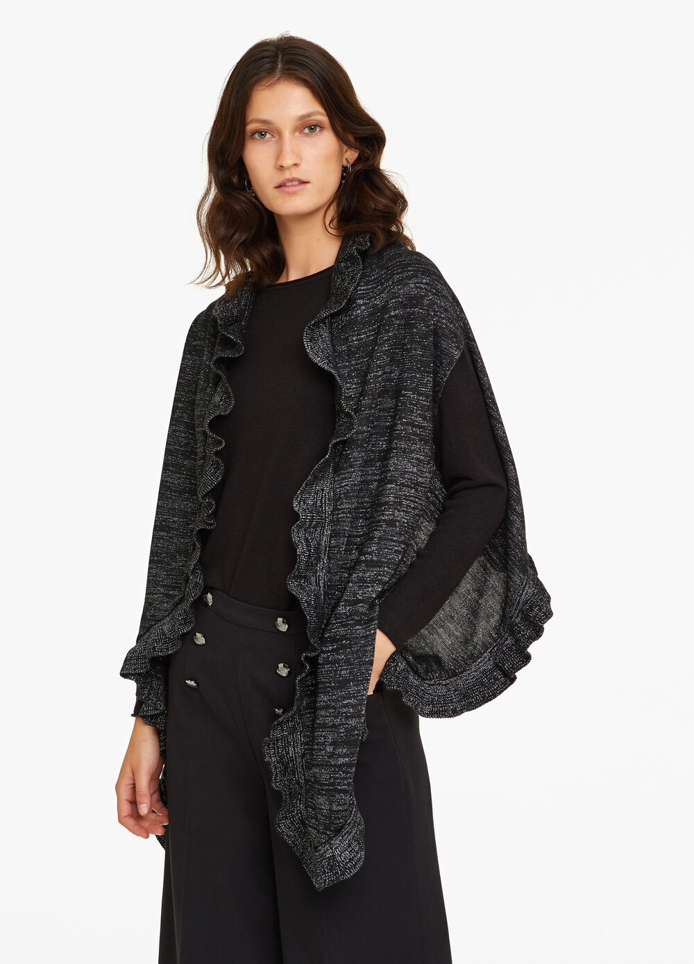 Poncho with lurex and flounce