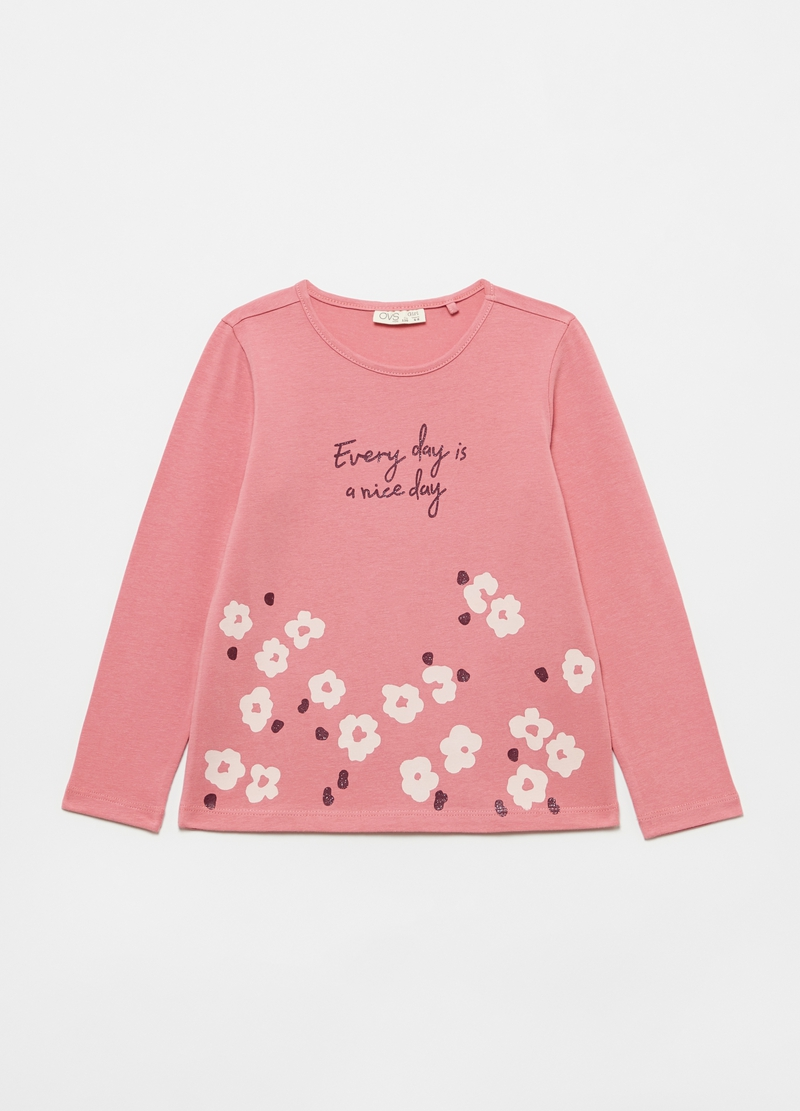 Long-sleeved T-shirt with flowers print image number null