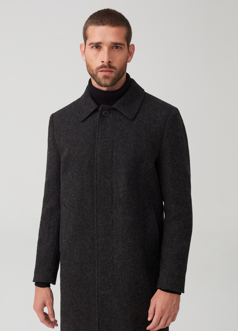 Coat in herringbone fabric with wool image number null