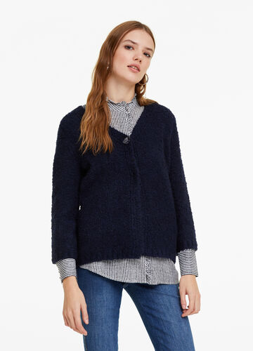 Bouclé cardigan with one button