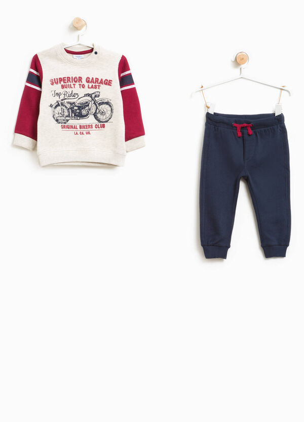 Cotton and viscose tracksuit with print | OVS
