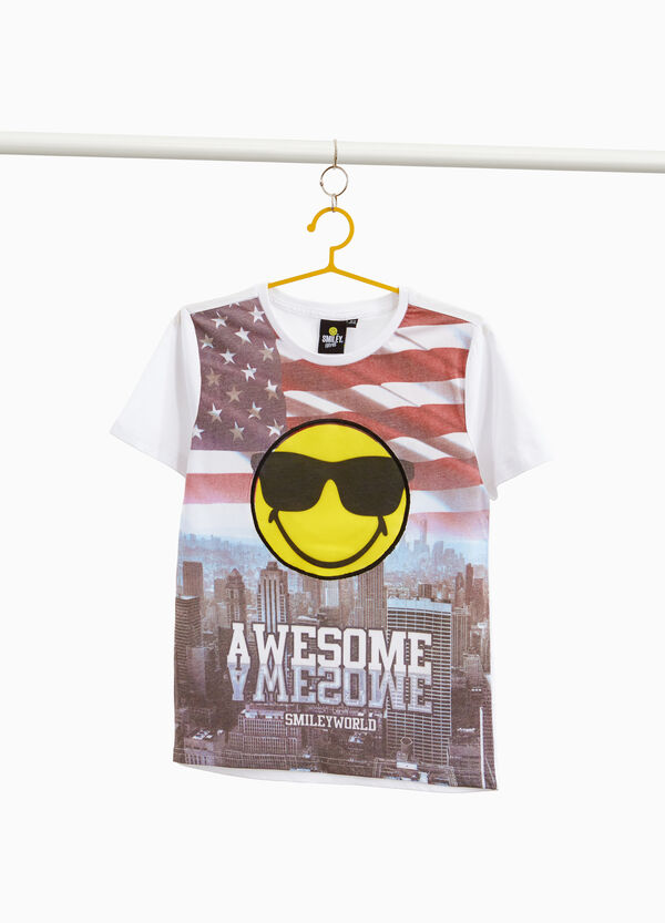 T-shirt puro cotone stampa Smiley World