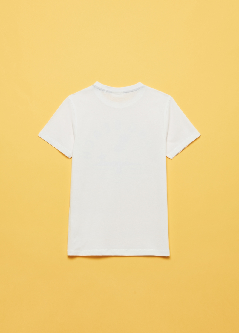 100% cotton T-shirt with lettering and print image number null