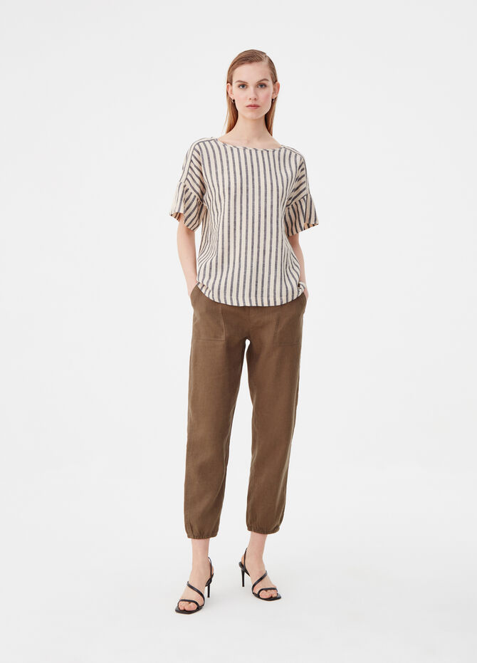 Short-sleeved blouse with striped flounces