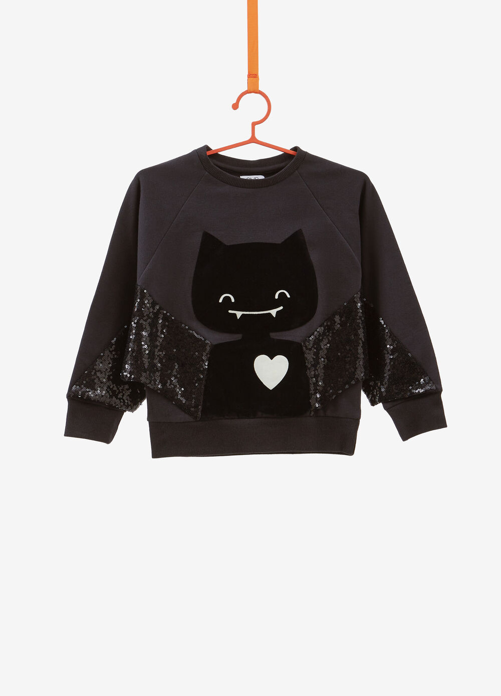 Stretch cotton sweatshirt with Batgirl sequins