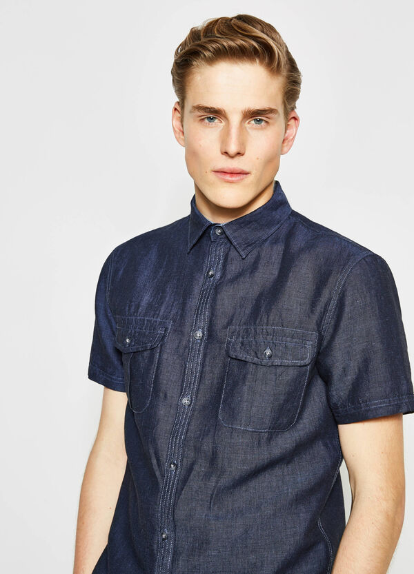 Regular-fit casual shirt in chambray | OVS