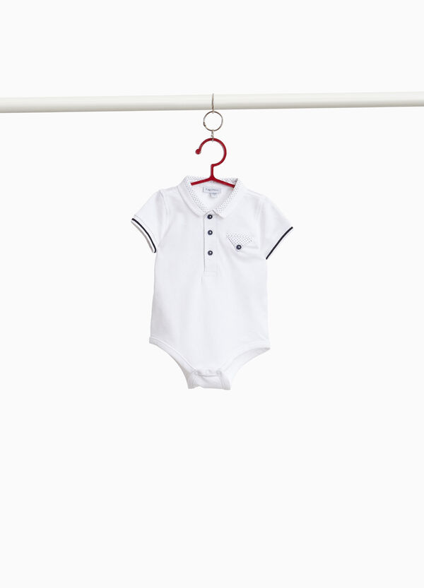 Piquet bodysuit with collar and pocket